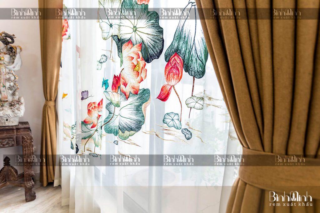 Rèm cửa đẹp 2 lớp thêu hoa sen tinh tế